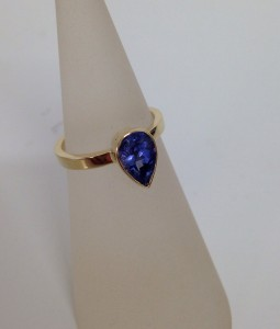 Gold ring using the customers sapphire.