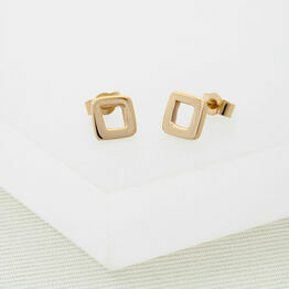 Geometric Gold Stud Earrings