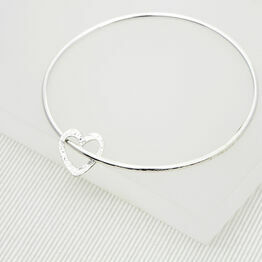 Solid Silver Bangle with Textured Heart Charm