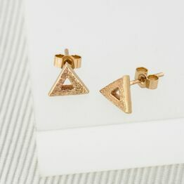 Yellow Gold Triangle Stud Earrings (Small)