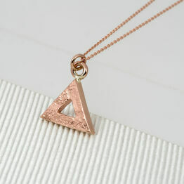 Large Rose Gold Geometric Triangle Pendant