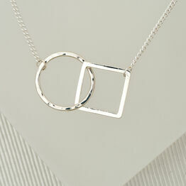 Geometric Necklace with Square and Hoop
