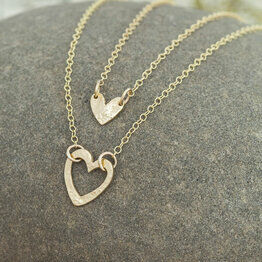 Layered Heart Necklace in Gold