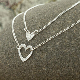 Double Layered Heart Necklace - Silver