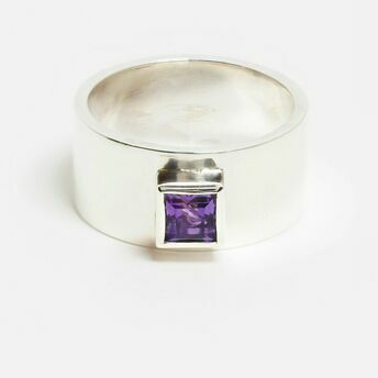 Silver Ring with Square Gemstone