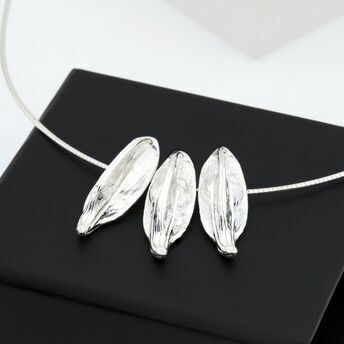 Triple Seed Pod Silver Necklace