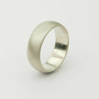 White Gold Matt Finish Wide Ring