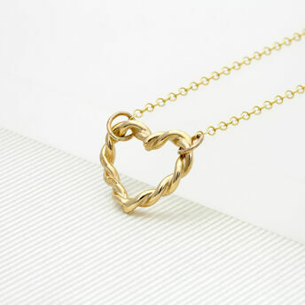 Gold Twisted Heart Necklace