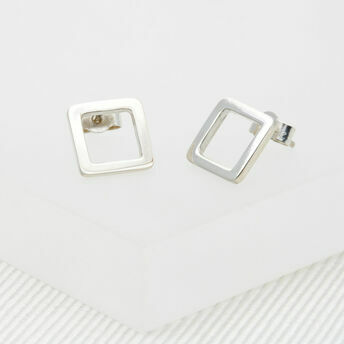 Geometric Silver Square Medium Stud Earrings