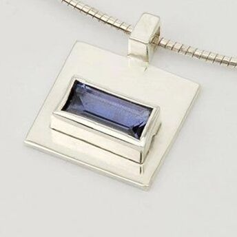 Silver Pendant with Rectangular Stone