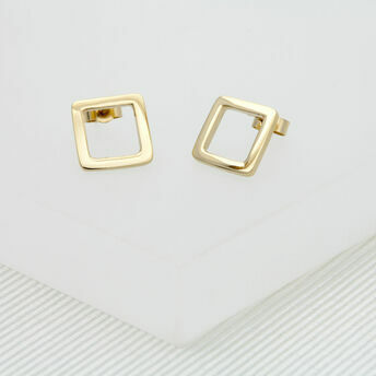 Geometric Gold Medium Stud Earrings