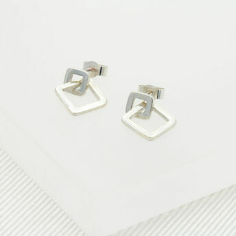 Geometric Silver Square Drop Earrings