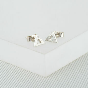 Textured Silver Triangle Studs (Small)