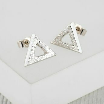 Textured Silver Triangle Studs (Medium)