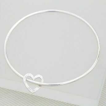Silver Bracelet with Textured Heart