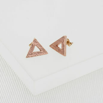 Rose Gold Triangle Stud Earrings (Small)