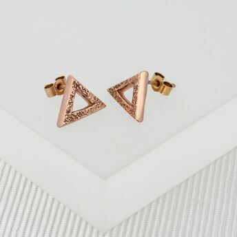 Rose Gold Triangle Stud Earrings (Medium)