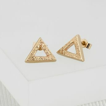 Yellow Gold Triangle Stud Earrings (Medium)