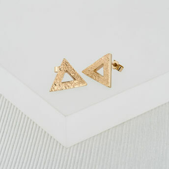 Yellow Gold Triangle Stud Earrings (Large)