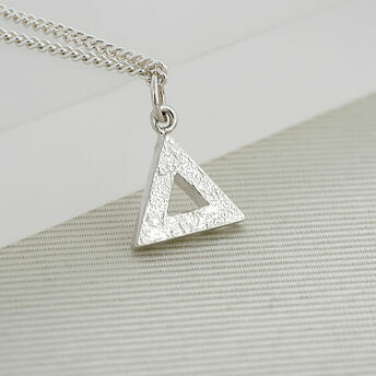Large Silver Geometric Triangle Pendant