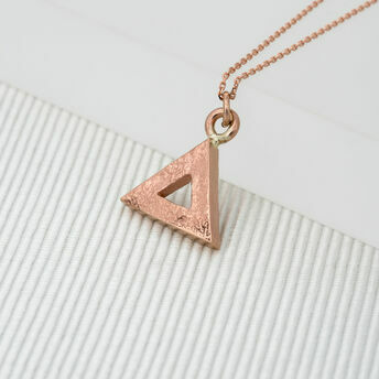 Medium Rose Gold Geometric Triangle Pendant