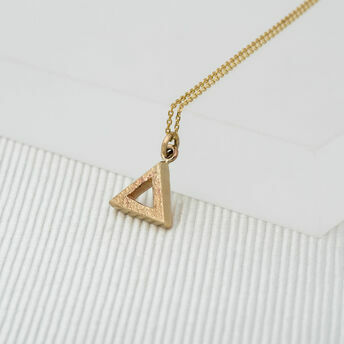 Medium Yellow Gold Geometric Triangle Pendant