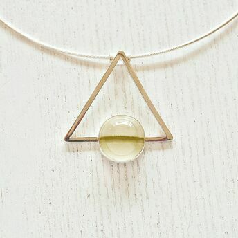 Silver Triangle pendant with Green Calcite