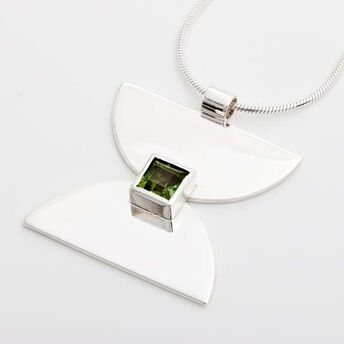 Silver Hourglass Pendant with Square Stone