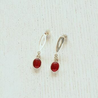 Silver earrings with Carnelian stones