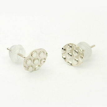 Silver Dotty Round Stud Earrings