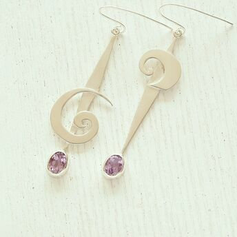 Silver earrings with Spirals and Amethyst