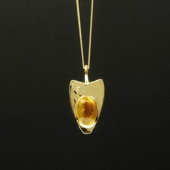9ct gold pendant with yellow sapphire