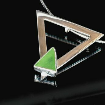 Triangle necklace with green sea glass