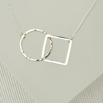 Hoop and Square Geometric Necklace