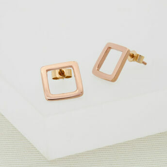 Geometric Rose Gold Medium Square Studs