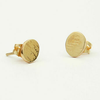 Gold Round Textured Stud Earrings