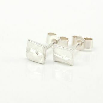 Silver Square Stud Earrings