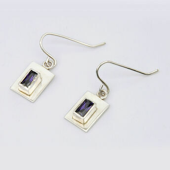 Silver Earrings with Rectangular Centre Stone