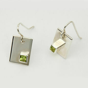 Silver Earrings with Offset Square Stone