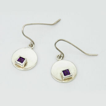 Silver Circular Earrings with Square Stone
