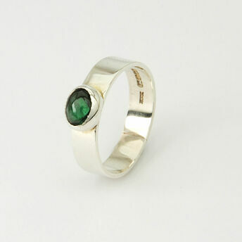 Silver Ring with Oval Gemstone