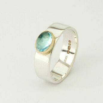 Silver Ring with Round Gemstone