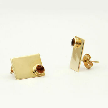 Gold Earrings with Stone