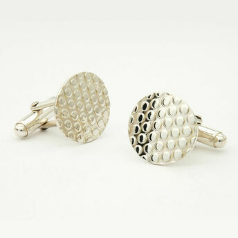 Silver Round Dotty Cufflinks