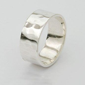 Textured Silver Wide Ring