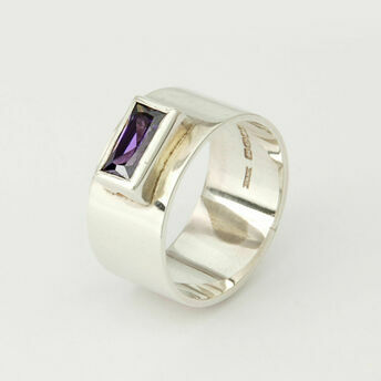 Rectangular Stone Silver Ring