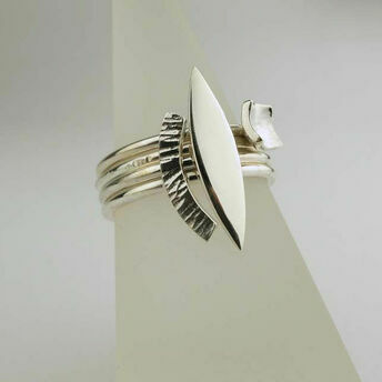 Four Silver Stack Rings