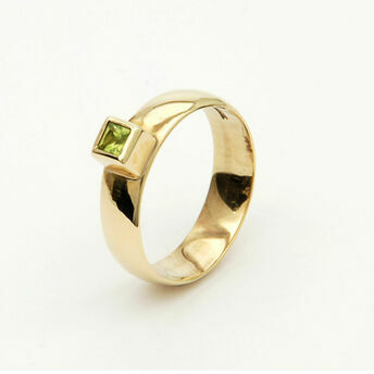 9ct Gold Ring with Square Gemstone