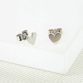 Handmade Silver Heart Stud Earrings