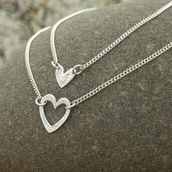 Silver Layered Heart Necklace